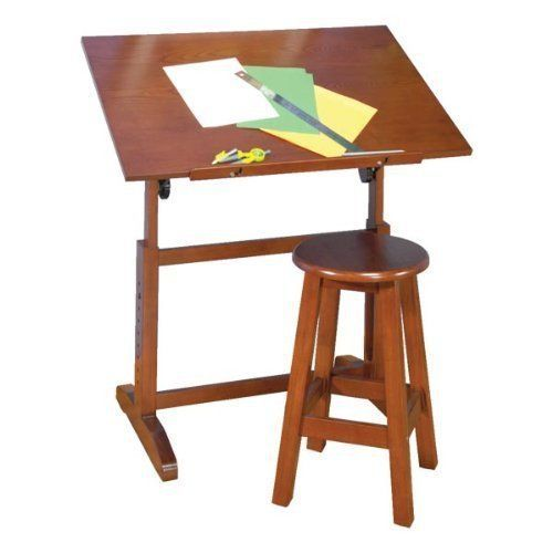 Creative Table and Stool Set in Walnut Finish by Studio Designs by Studio Designs. $156.76. Solid Wood Construction for Stability. Floor Levelers Adjust to Uneven Surfaces. Adjustable Angle Work Surface: 36W x 24.25D. 24 Slide Up Pencil Ledge. Adjustable Height from 27.75 to 34.75High. Adjustable Angle Work Surface: 36W x 24.25D Adjustable Height from 27.75 to 34.75High 24 Slide Up Pencil Ledge Solid Wood Construction for Stability Floor Levelers Adjust to Uneven Surfaces 22 Tal...