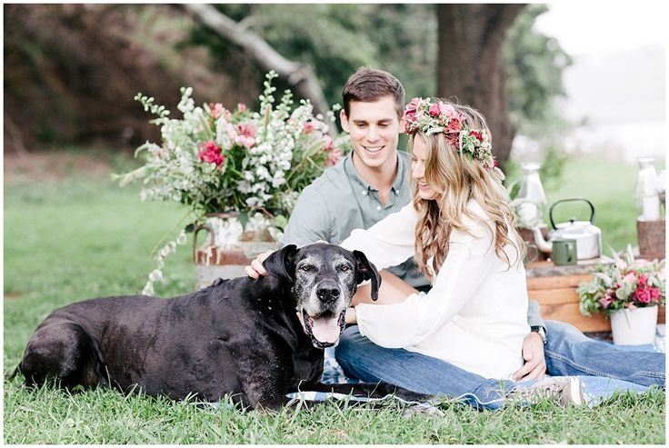 www.vanillaphotography.co.za - Styled engagement shoot, flower crown, flowers, dog, picnic, couple