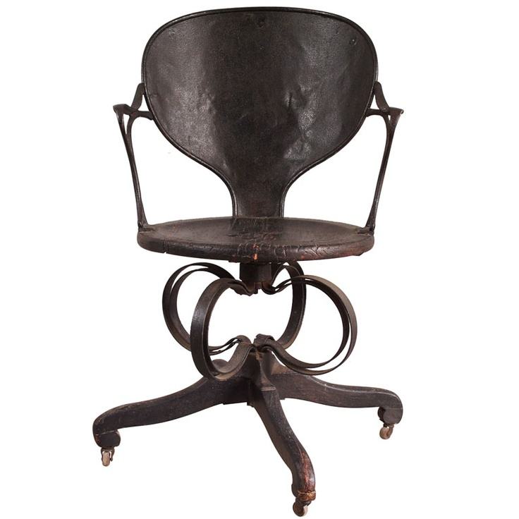 Early Industrial Office Chair  USA  circa 1840-60  Single industrial office chair, with steel strut base.