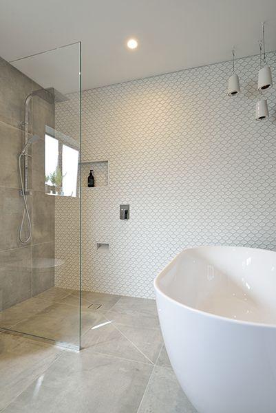 Emma Courtney Main Bathroom From The Block Nz Featuring Cementia Grey 600 X And Honeycombe Internal White 48 Tile E