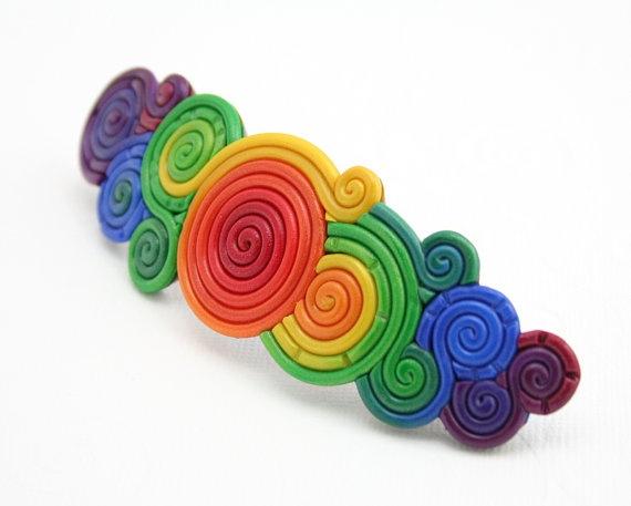 Polymer clay rainbow barrette