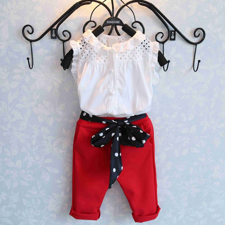 2016 New Girls Clothing Sets Baby Kids Clothes Suit Children sleeveless T-Shirt +red Pants Fashion suits