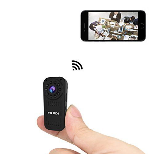 FREDI hidden camera 1080p HD mini wifi camera spy camera for iPhone/Android Phone/ iPad Remote View with Motion Detection(support 128G SD card)  Strong Function:This is a HD mini hidden camera,Built-in microphone,Support real-time video recording,IR night vision,snapshot,audio recording.Lens Angle Rotatable: World's smallest Dvr video camera with vertically rotatable and 140 degree wide angle lens.TOP Night Vision IR Camera: FREDI L16 has 10pcs black LED around the lens which are i..