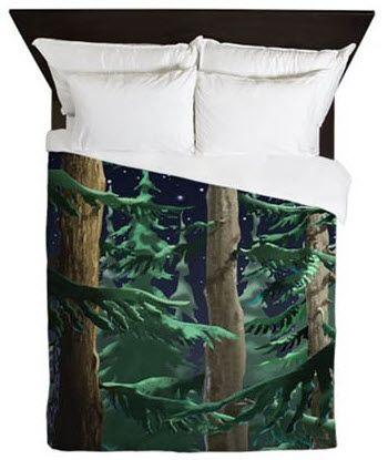 Dazzling Forest in Moonlight duvet cover