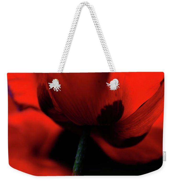 "Flaming Red Poppies Weekender Tote Bag (24"" x 16"") by Jenny Rainbow.  The tote bag is machine washable and includes cotton rope handle for easy carrying on your shoulder.  All totes are available for worldwide shipping and include a money-back guarantee."