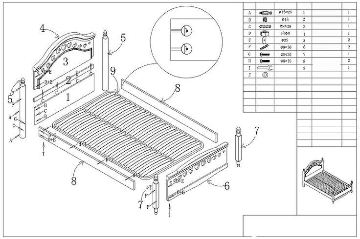 Схема сборки на эскизе детской кровати из мдф с подголовником