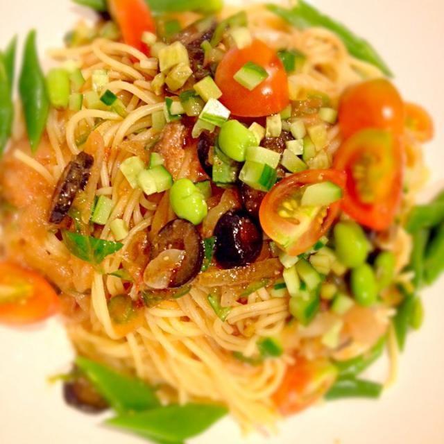 カッペリーニが無くても美味しいです。 トッピングの材料は胡瓜とトマトだけでも十分な味♪ 大量に作って、冷奴にかけたり、ご飯にかけて冷製リゾットや茹で野菜にかけても合います。 - 32件のもぐもぐ - アンチョビとガスパチョ風冷製パスタ by t0mimaru