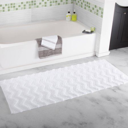 Somerset Home 100 Percent Cotton Chevron Bathroom Mat, 24 inch x 60 inch, White