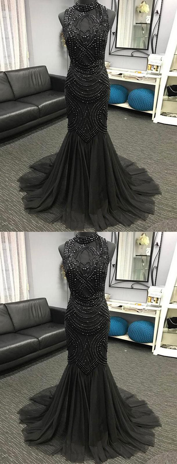 Mermaid High Neck Beaded Black Tulle Dress