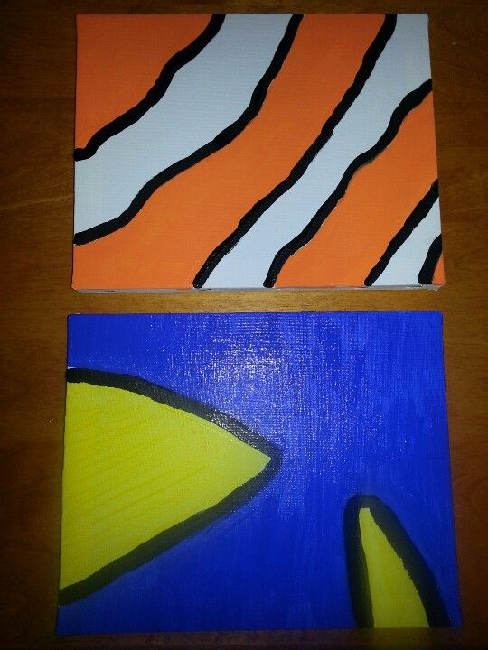 Finding nemo nursery diy easy canvas paintings... could do this with a closeup for buzz and woody
