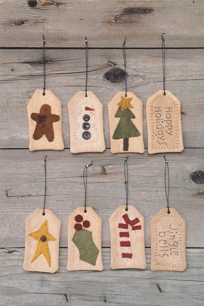 Christmas primitive tags patterns