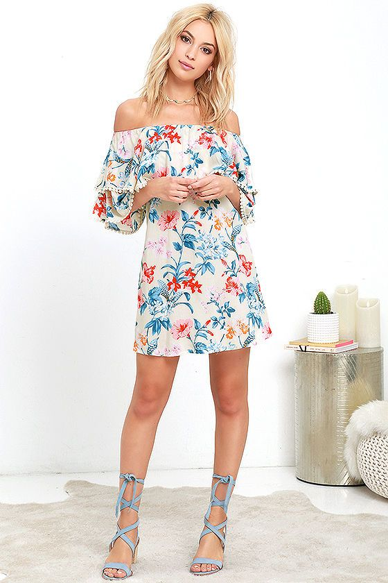Floral I Know Cream Print Off The Shoulder Dress
