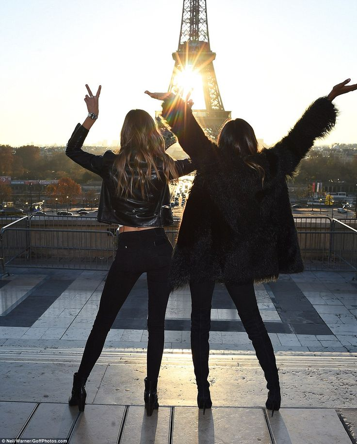 Josephine Skriver & Jasmine Tookes in Paris at the Eiffel Tower promoting the upcoming 2016 Victoria's Secret Fashion Show-November 29, 2016