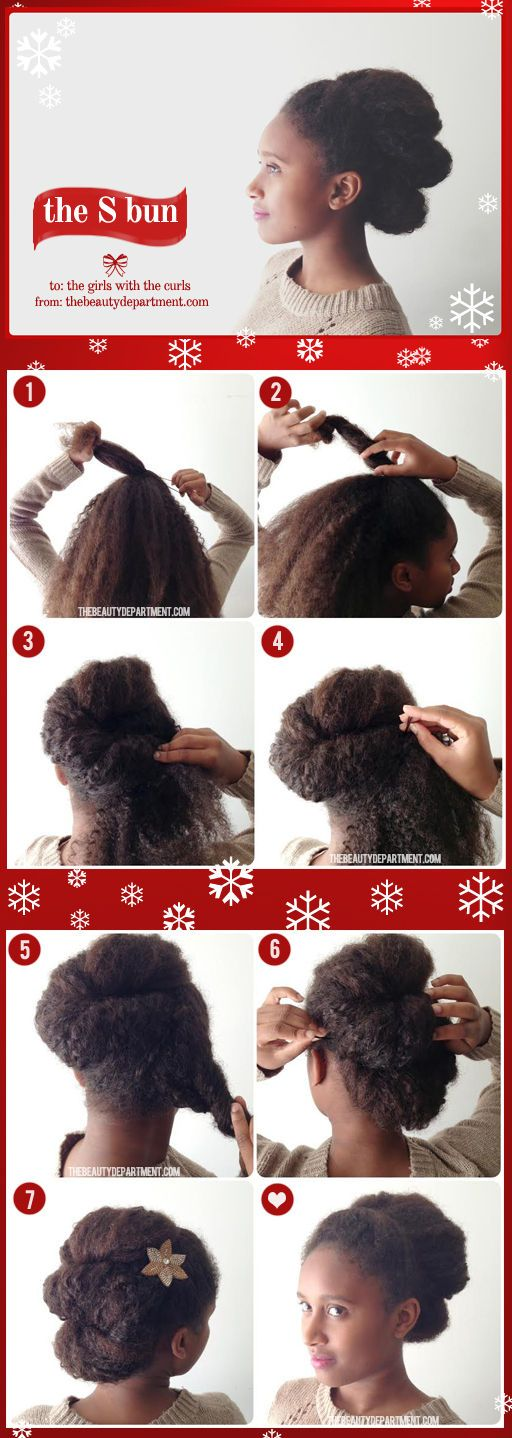 a fun holiday updo for girls with super thick, curly hair!