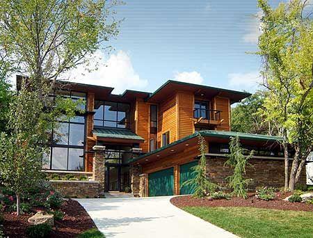 Modern house plan sloping lot