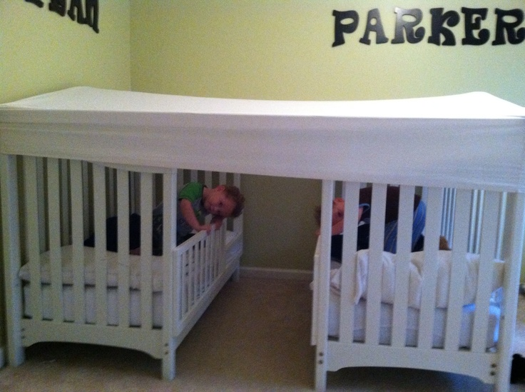 Toddler Boy Bed Ideas: Twin Boy Toddler Beds With A Fitted Queen Sheet....perfect