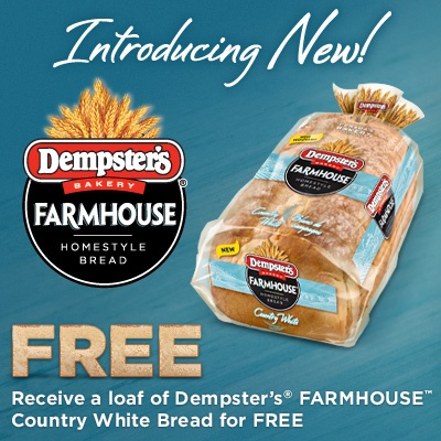 Hey Ontario get your coupon to try new Dempster's Farmhouse Country White Bread for FREE on our facebook page! Hurry they're going fast! (This Bread and coupon  available in Ontario only at this time)