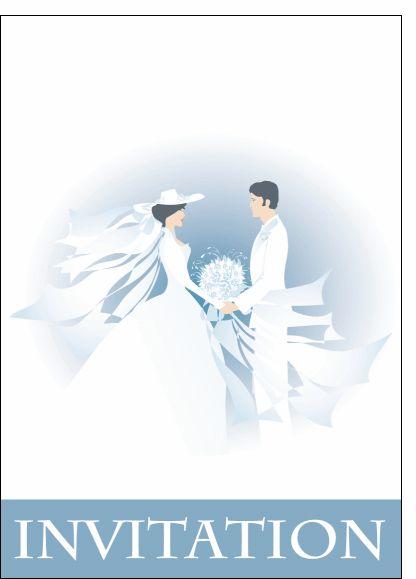 Carte Invitation de mariage bleu pour envoyer par La Poste, sur Merci-Facteur !