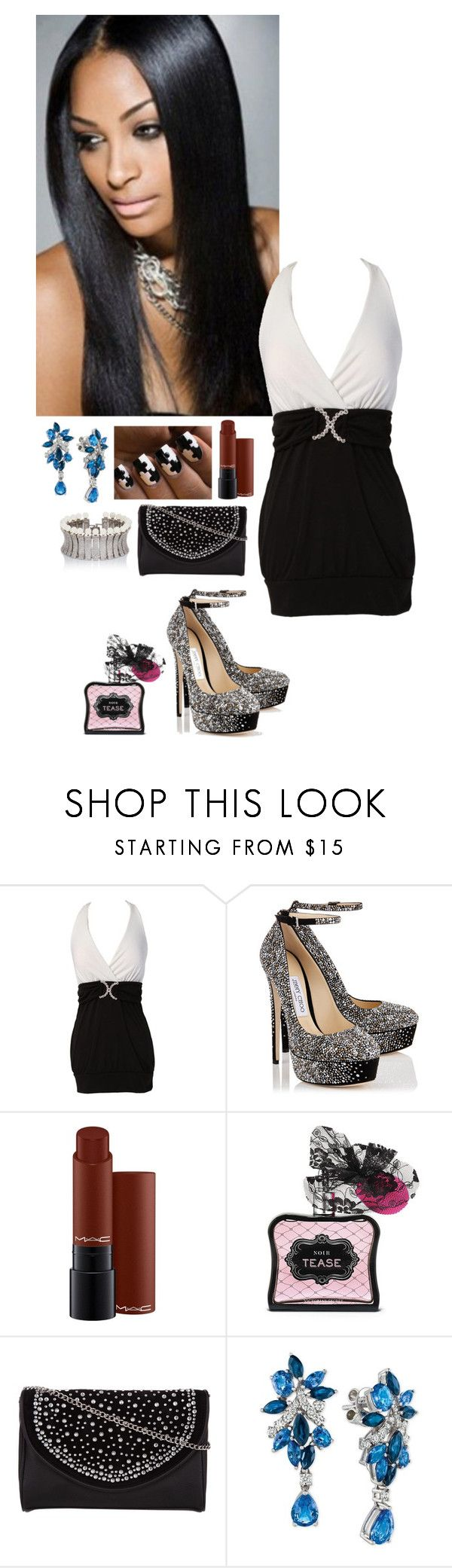 """Alex - Girl's Night Out"" by kellyspanner ❤ liked on Polyvore featuring Jimmy Choo, MAC Cosmetics, Victoria's Secret, Kardashian Kollection, LE VIAN and Fallon"
