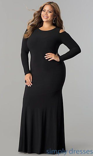 Shop plus-size long formal evening dresses at Simply Dresses. Long-sleeved cold-shoulder floor-length gowns under $100 with scoop necklines.