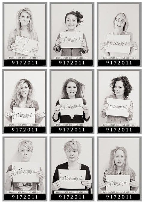 How to Plan a Bachelorette Party (via Emmaline Bride) - bachelorette party mugshots for the day after