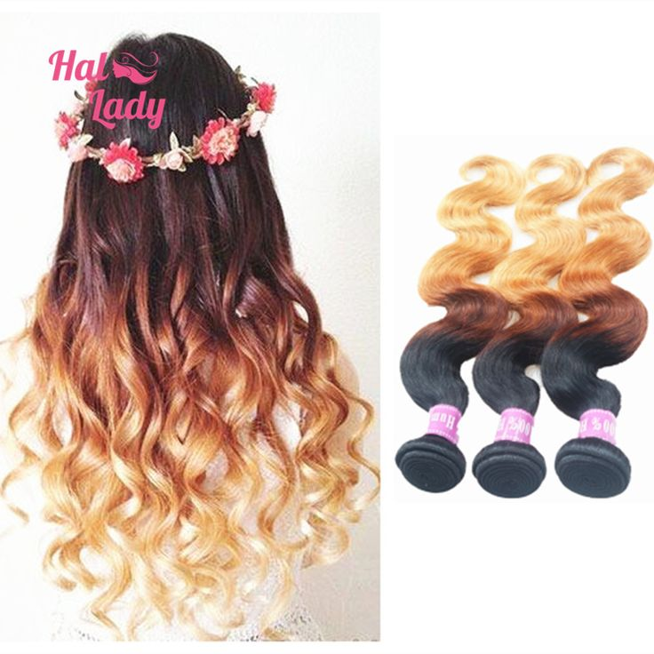 Halo Lady Ombre 3 Tone Body Wave Malaysian Human Hair Extension 3pcs lot 100g Bundles, Malaysian Ombre Wavy Virgin Remy Hair