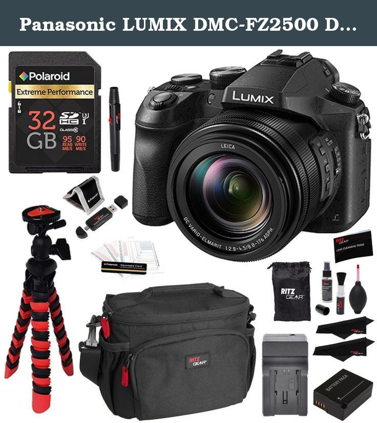 """Panasonic LUMIX DMC-FZ2500 Digital Camera 4K Video, Polaroid 32GB High Speed SD Card U3, Battery, Charger, Ritz Gear Tripod, Cleaning Kit and Accessory Bundle. The Panasonic LUMIX FZ2500 offers a hybrid mix if photo and 4K video capture features that make up its backbone. The FZ2500 is built around a large 1-inch 20.1 Megapixel sensor and bright 20X LEICA VARIO-ELMART F2.8-4.5 lens. Video professional will enjoy features like """"CINELIKE D"""" and """"CINELIKE V"""" for cinema-like gradation, V-Log…"""