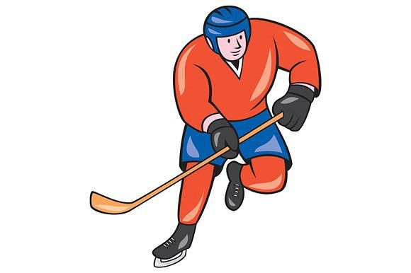 Ice Hockey Player With Stick Cartoon Hockey Stick Ice Hockey Players Ice Hockey