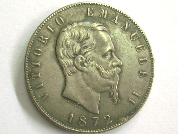 I am offering a Antique Vintage Italy 5 lire 1872 silver coin. MISSING MONEY. Kingdom of Italy - Vittorio Emanuele II. Very RARE coin. Mint of Roma. For serious collectors. In excellent condition. Lightly abrade the bottom right corner to start cleaning. KINGDOM OF ITALY -