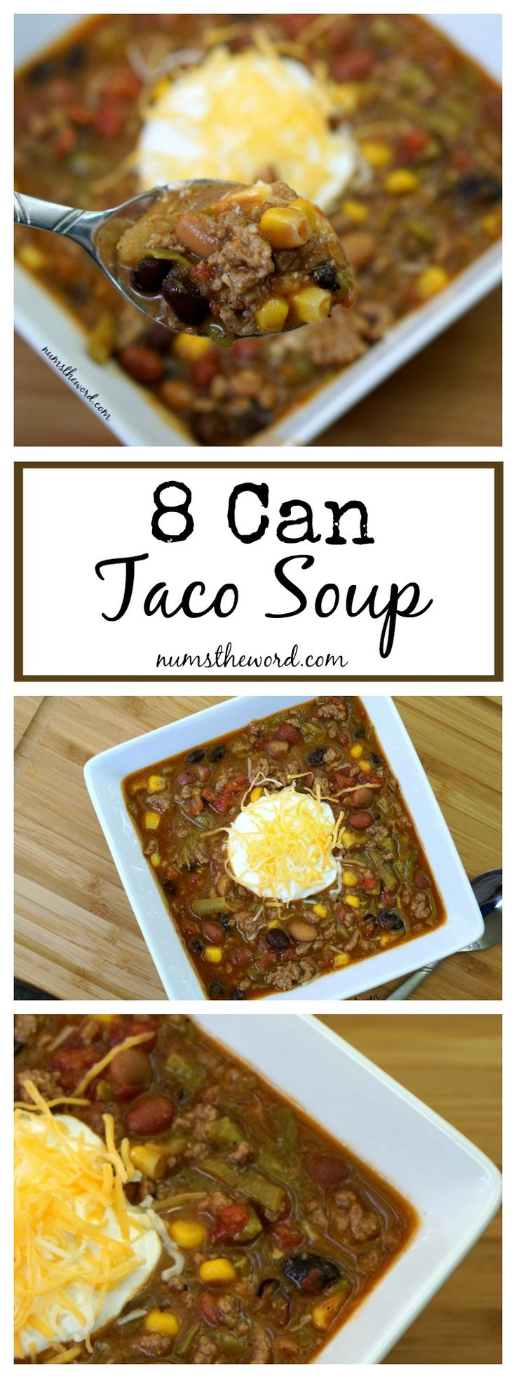 This 8 Can Taco Soup is fool proof and delicious! Ready in 40 minutes and freezes well! A perfect Autumn meal everyone will love!