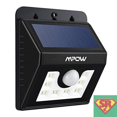 Mpow Luci Solari Lampada Wireless ad Energia Solare da Esterno con Sensore di Movimento con 8 Lampadine LED con Funzione di Dusk to Dawn Dark Sensing Auto On / Off