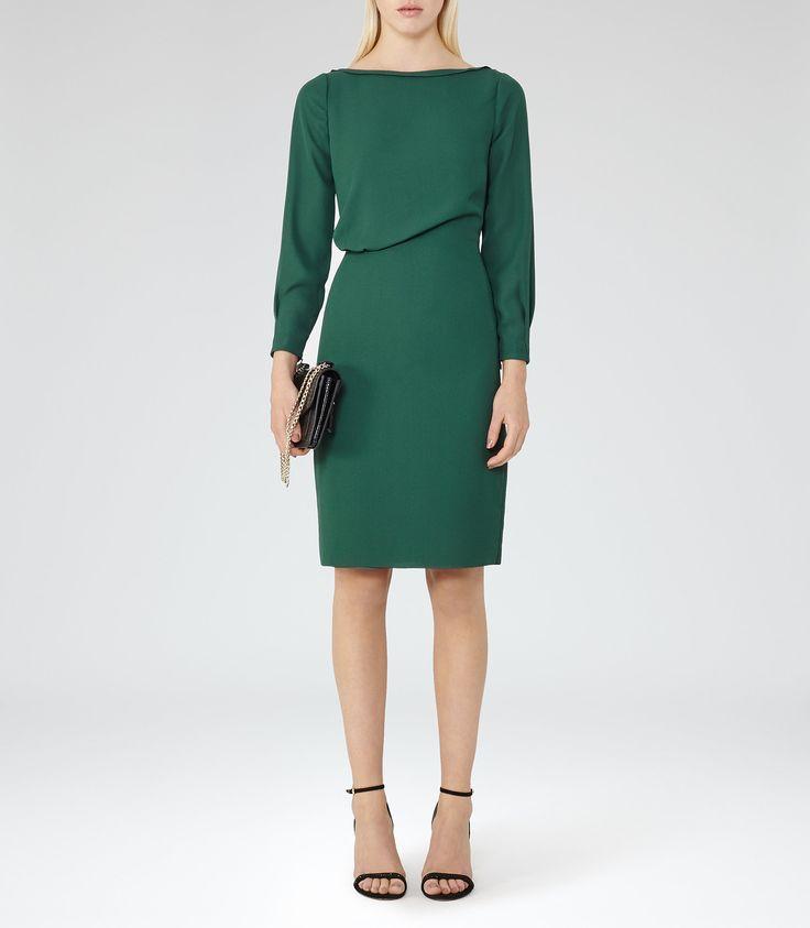 Simone Pine Green Long-Sleeved Dress - REISS