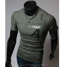 2015 yeni kısa kollu erkek tişörtleri pamuk t- gömlek erkek spor üstleri casual erkek t- shirt o- boyun baskılı bir mektup t shirt(China (Mainland))