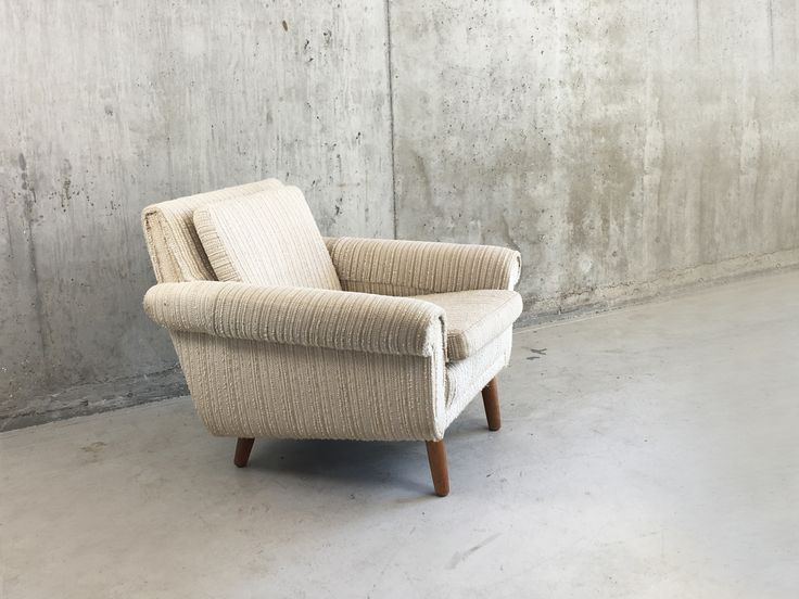 Danish Mid Century Armchair with Original Oatmeal Fabric 1970s