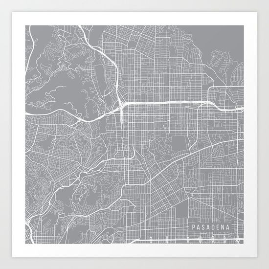 Map of pasadena, california in a pewter color. Clean minimal design with hundreds of cities available. Perfect in sets of 2 or 3 for travel picture walls.<br/>
