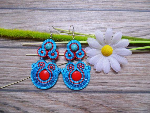 earrings / soutache technique / handmade nr222 by Kokonek on Etsy