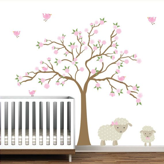 Baby Vinyl Wall Decal Nursery Cherry Blossom Tree with Lamb,Birds,Flowers,Tree