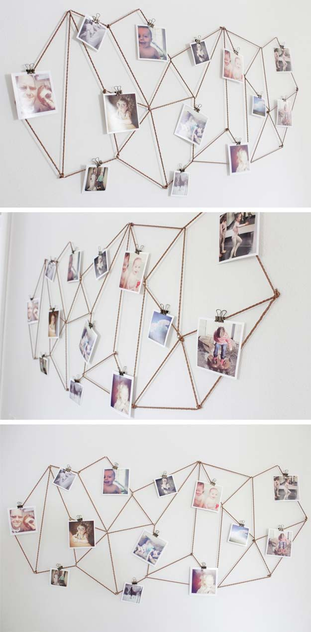 DIY Dorm Room Decor Ideas - Geometric Photo Display - Cheap DIY Dorm Decor Projects for College Rooms - Cool Crafts, Wall Art, Easy Organization for Girls - Fun DYI Tutorials for Teens and College Students http://diyprojectsforteens.com/diy-dorm-room-decor #artscollege #homeschoolingideasforteens