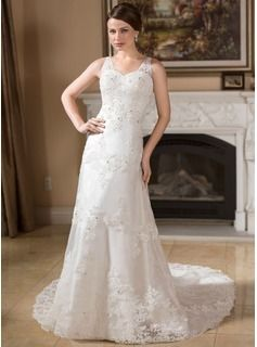 Wedding Dresses - $252.99 - A-Line/Princess V-neck Chapel Train Organza Satin Wedding Dress With Lace Beadwork  http://www.dressfirst.com/A-Line-Princess-V-Neck-Chapel-Train-Organza-Satin-Wedding-Dress-With-Lace-Beadwork-002000383-g383