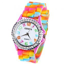 $3.76 Geneva Quartz Watch 12 Arabic Number Indicate Rubber Watch Band for Women - Colorful
