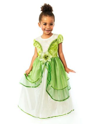 This finely detailed green Princess dress is a beautiful addition to any girl's princess dress collection.
