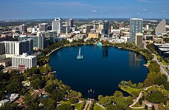 Downtown Orlando.  People are often surprised that Orlando has so many lakes. It's becoming a pretty town.