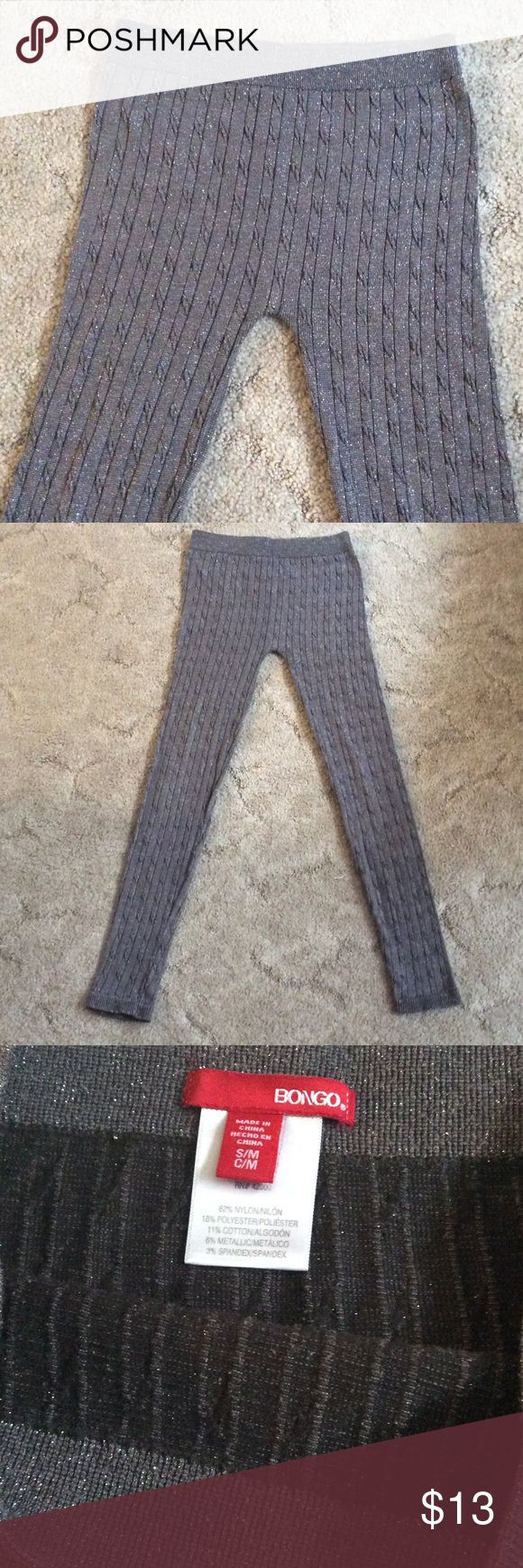 Girls thick sparkly leggings Girls gray sparkly thick ribbed leggings. Elastic waist. Like new! BONGO Bottoms Leggings