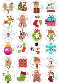 Christmas Advent Calendario freebie printable / etiquetas para Calendario de adviento imprimibles: