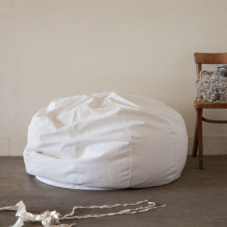 Oversize White Denim Bean Bag