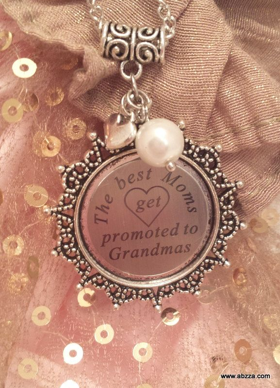 The best Moms get promoted to Grandmas -  Laser Printed Necklace by abzzadesigns on Etsy