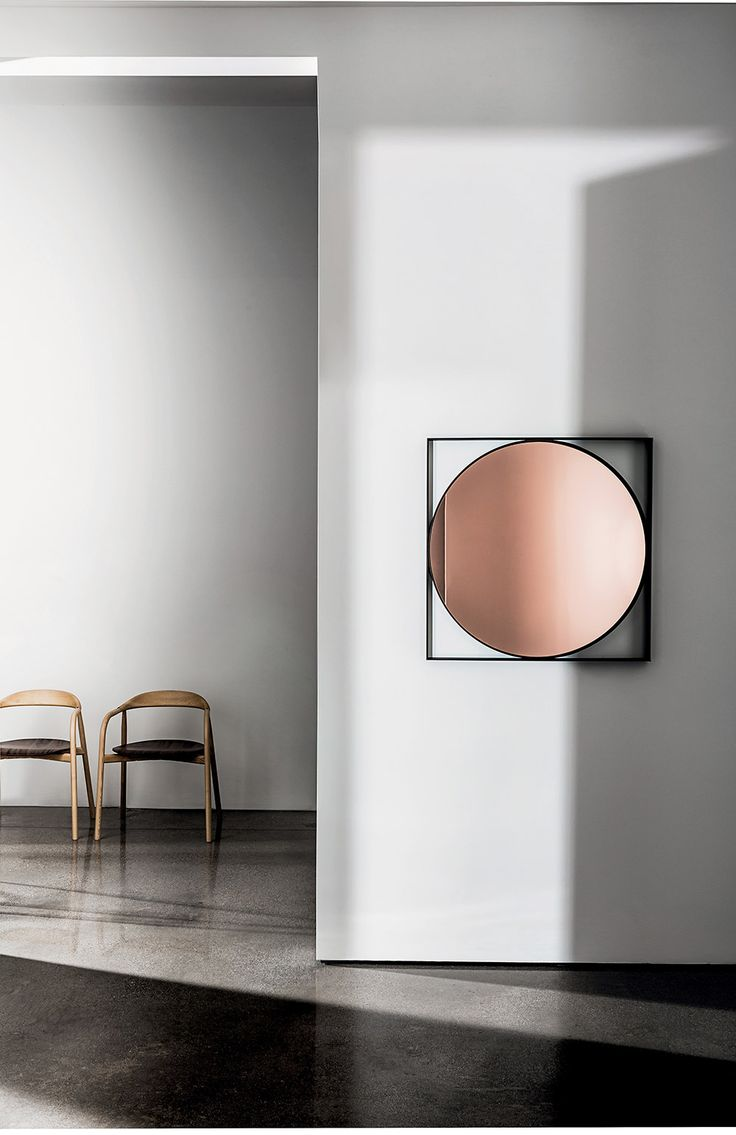 Square mirror with lacquered metal frame, burnished brass finish.  Central mirror available in different shades.