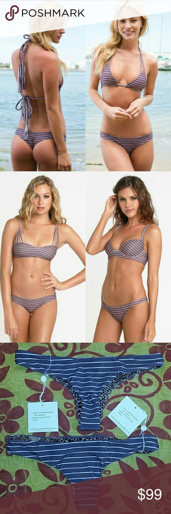 New acacia ho'okipa fig cape cod bikini hookipa bo Brand new with tag & hygienic protection strip. Ho'okipa thong bikini bottom in fig cape cod stripe by acacia swimwear. I have both sizes Small and Medium available NWT. The hookipa is acacia's signature cheeky cut. Fig purple brown background with nude naked stripes. No trade please. The price is firm. Price reflects high percentage posh commission fees acacia swimwear Swim Bikinis