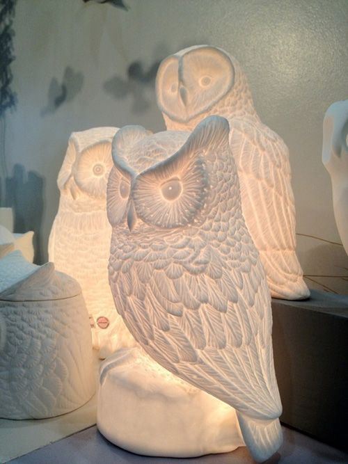 My Owl Barn: Ceramic Owl Lamp OMG I WANT!!! I love white pottery!!!