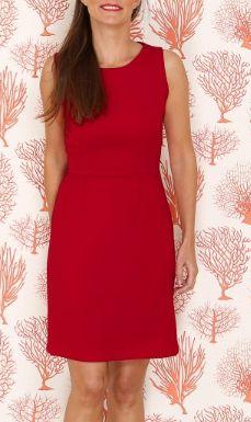 Vestido rojo carmesi recto con cintura ceñida.  Vestido para dama de honor y invitada de matrimonio